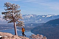 Man hiking in the Sierra Nevada Mountains, California, USA