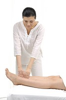 Close_up of a woman getting leg massage