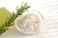 Close_up of Epsom salts with a twig