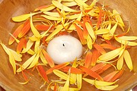 Bowl containing lit candle and flower petals
