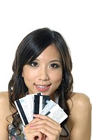 Woman showing credit cards