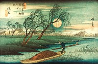 HIROSHIGE: MOONLIGHTon Sebu River. Woodblock print, 19th century. Japan.