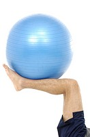 Foot holding exercise ball