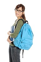 Female university student carrying a backpack