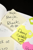 Adhesive notes stuck on a diary (thumbnail)