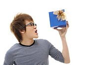 Man holding a gift and shouting