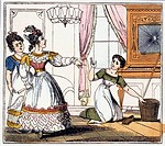 CINDERELLA AND SISTERS/nCinderella cleans the floor as her sisters go to the ball. English book illustration, c1825.