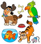 Cartoon pets collection _ isolated illustration.