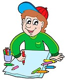 Boy with crayons _ isolated illustration.
