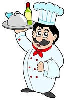 Cartoon chef holding meal and wine _ isolated illustration.