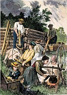 EMIGRANTS: BUILDING CABINEmigrants building a log cabin in the American West: wood engraving, 19th century.
