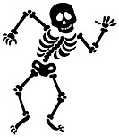 Dancing skeleton silhouette _ isolated illustration.