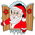 Christmas window with Santa Claus _ isolated illustration.