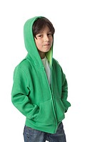 Portrait of a cool little boy with a hood on white background