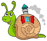 Snail with shell house _ isolated illustration.