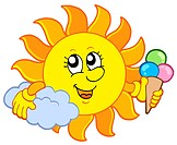 Sun with icecream _ isolated illustration.