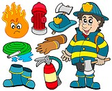 Fire protection collection _ isolated illustration.