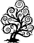 Stylized tree in bloom silhouette _ isolated illustration.
