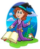 Cute witch with wand and book _ color illustration