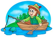 Fisherman in boat with trees _ color illustration.
