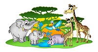 Group of African animal _ color illustration.