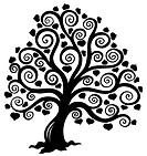 Stylized tree silhouette _ isolated illustration.