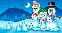 Winter landscape with snowman family _ color illustration.
