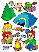 Holiday camping collection _ isolated illustration.