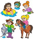 Summer kids activities collection _ isolated illustration.