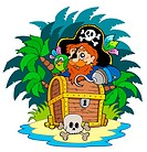 Small island and pirate with hook _ isolated illustration.