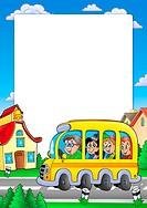 School frame with bus and kids _ color illustration.