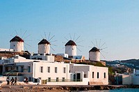 Windmills in a town, Mykonos Town, Mykonos, Cyclades Islands, Greece