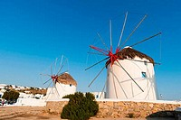 Traditional windmill on a hill, Mykonos Town, Mykonos, Cyclades Islands, Greece