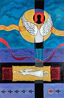 Flying Angel Bharati Chaudhuri b.1951 Indian Acrylic on canvas