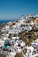 High angle view of a town, Oia, Santorini, Cyclades Islands, Greece