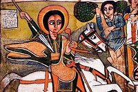 Image of St. George in St. Mikael Church, Golgotha Church, Lalibela, Ethiopia
