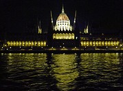 Hungarian Parliament building at night from the Danube River  Budapest, Hungary