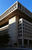 Low angle view of a government building, J Edgar Hoover FBI Building, Washington DC, USA
