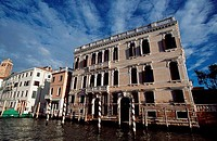 Low angle view of buildings along a canal, Grand Canal, Venice, Veneto, Italy