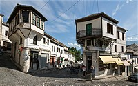 In the centre of the bazaar area of Gjirokastra in southern Albania with its old ottoman influenced houses