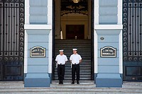 Sailors standing in front of a military building, Chilean Navy Building, Sotomayor Plaza, Valparaiso, Chile
