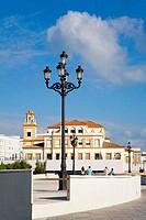 Lamppost in front a college, Former Royal Prison, Barrio De Santa Maria, Cadiz, Andalusia, Spain