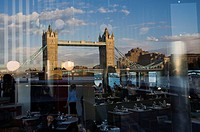 Reflected in restaurant, Tower Bridge, London, England, United Kingdom, Europe.