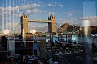 Reflected in restaurant, Tower Bridge, London, England, United Kingdom, Europe.