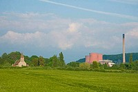 Ironbridge Coal Fired Power Station and Buildwas church on a sunny summers day Shropshire England United Kingdom GB Great Britain British Isles Europe...