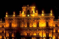 Salamanca Plaza Mayor illuminated at night Salamanca Castile Leon Spain Espana Europe EU