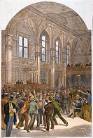 NY STOCK EXCHANGE, 1881.Trading on the floor of the New York Stock Exchange: colored engraving, 1881.