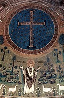 TRANSFIGURATION.Detail of a mosaic, circa 6th century, from the Basilica of St. Apollinare, Ravenna, Italy.