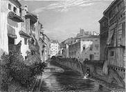 SPAIN: GRENADA, 1833.On the River Darro. Line engraving, English, 1833.