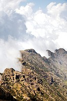 Landscape in the Simien Mountains National Park  Clouds are moving up at the edge of the escarpment forming a dramatic background  The Simien Semien, ...